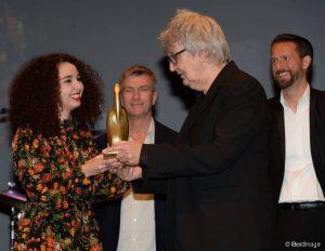 Baya Medhaffar et Jacques Higelin - Cérémonie de clôture du Festival du Cinéma et Musique de Film de La Baule, le 14 novembre 2015